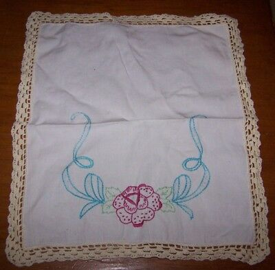 Vintage Hand Embroidered Table Doily Mat - Beautiful Floral Embroidery