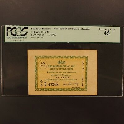 Straits Settlements 10 Cents 8.3.1920 P#6c Banknote PCGS 45 - Extremely Fine