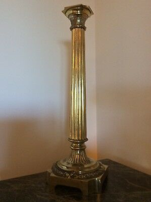 High Quality 19Th Century Cast Brass Tapering Oil Lamp Base