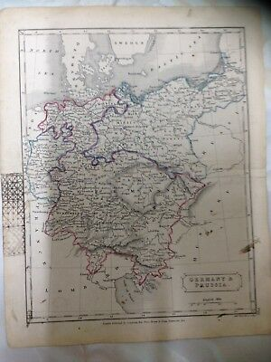 Antique Map Of Germany And Prussia. Dated 1861. Measures 21cm x 26cm. (IH26)
