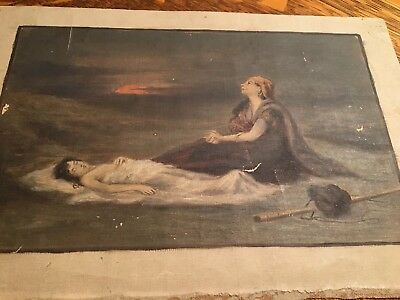 Antique Painting - Oil on Canvas Unsigned/No Frame DEATH SCENE