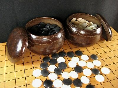 ANTIQUE JAPANESE (c.1920's) GO GAME GOKE STONES WITH MULBERRY WOOD BOWLS