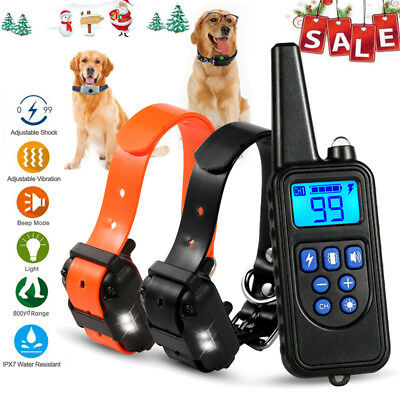 800M Waterproof Pet Trainer 2 Dog Training Shock E-Collar Rechargeable Remote US