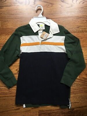 Crazy 8 Boys Long Sleeve Polo Shirt Size Med 7-8 Green Yellow Stripe NEW w tag