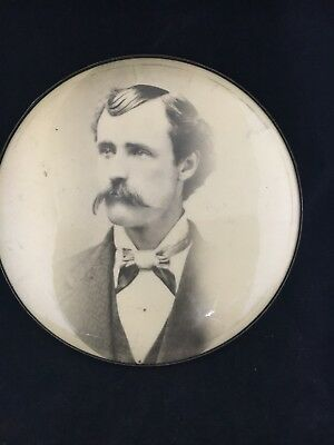 Antique Victorian Old Round Tin Photo Man with Mustache  & Bow Tie
