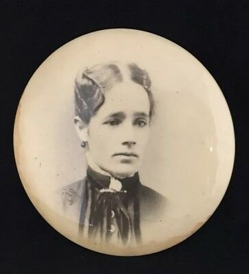 Antique Victorian Old Round Tin Photo Lady in High Collar Dress & Earrings