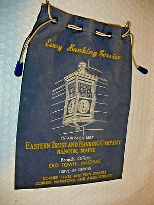 Vintage Eastern Trust & Banking Company Bangor Maine Coin Bag Free Shipping