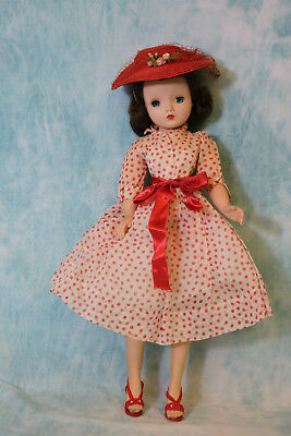 Madame Alexander Cissy 1956 doll Red polka dot organdy tagged dress Hat Shoes