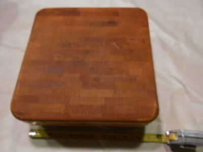 """Vintage Butch-R-Boy Wood Block SANDED CLEANED Cutting Board 11"""" sq./ 2.5"""" Thick"""