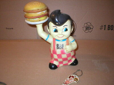 """VINTAGE BIG BOY 9"" VINYL BANK"" holding big boy sandwich with key chain frisch's"
