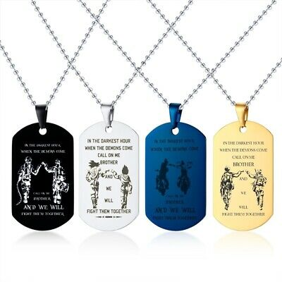 """Men Man Necklace Pendant Brother Military Soldier Dog Tag Personalized 24"""" Chain"""