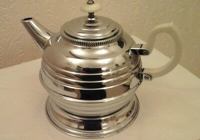 ART DECO  Denlagh Tea Pot with stand Chromium Plate on Solid Copper.