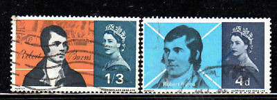 GREAT BRITAIN #444-445   1966  ROBERT BURNS      F-VF  USED  a