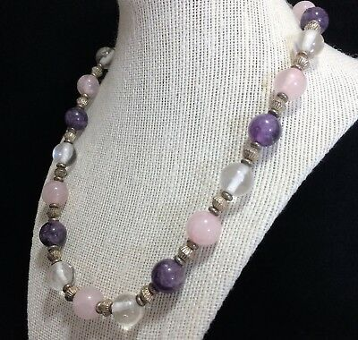 Artisan Amethyst Rose and Crystal Quartz Bead 19 Inch Necklace Round Beads 1018m
