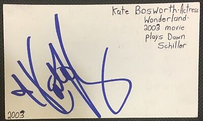 Cards & Papers Movies Kate Bosworth Actress Dawn In Wonderland Movie Autographed Signed Index Card
