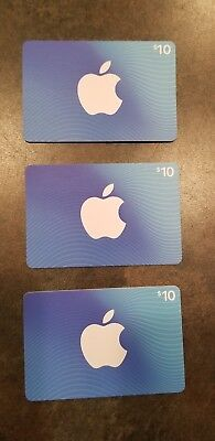 App Store & ITunes Gift Cards 3 $10 each total $30 New Not Scratched