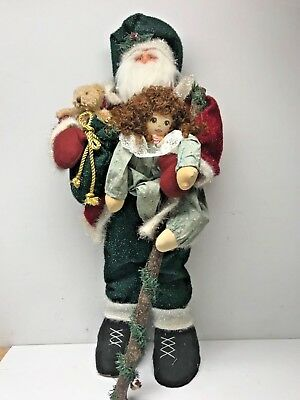 "Standing Santa Figure Father Christmas Decor Large 34"" Tall! W/Doll & Bear WOW!!"