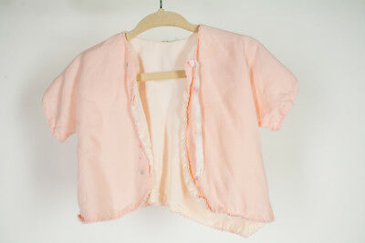 Vintage 1950s 1960s MCM Pink kid child baby Jacket Blouse Top PJS Cotton Floral