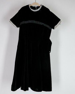 Vintage 1950s 60s MCM Kid Child Junior Black Velvet Party Dress White Trim Retro