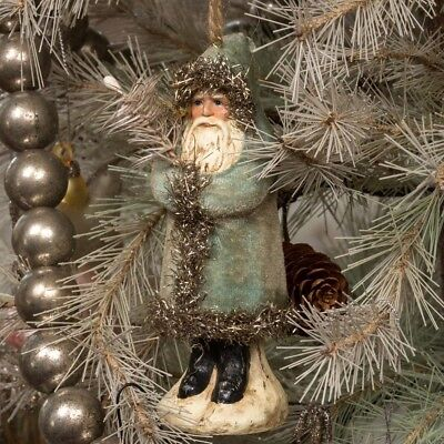 "5"" Belsnickle Soft Blue Velvet Santa Claus Ornament Paper Mache Christmas Figure"