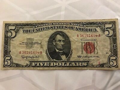 1963 $5 RED Seal Legal Tender ~UNITED STATES NOTE~ Old US Paper Money!