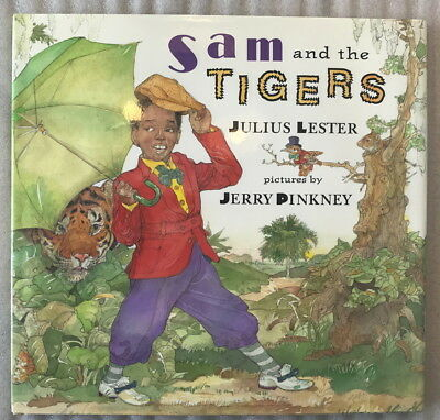 SIGNED 1st edition of Sam & the Tigers by Julius Lester - Sambo retelling HC DJ