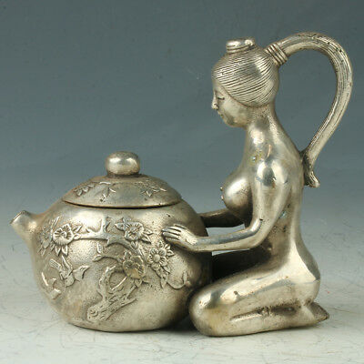 Old Chinese Silve Copper Teapot Carved Beauty Shape Mark Xuande
