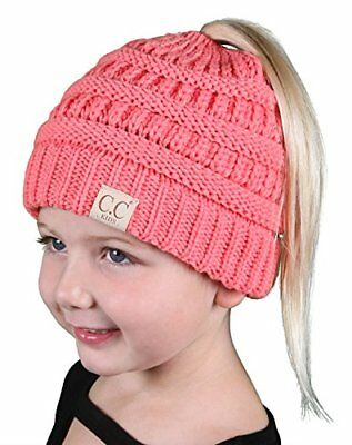 db615f5858e Funky Junque BeanieTail Children s Ponytail Messy Bun Beanie Solid Ribbed  Hat