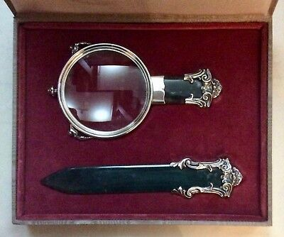 A Magnificent Two-Piece Italian Silver And Green Stone Desk Set In Fitted Case