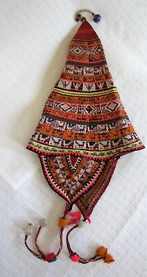 Vtg South American Hand Woven Child's Hat Bolivia Peru Intricate Weave Colorful