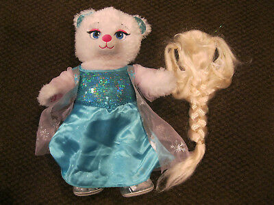 Build A Bear Elsa White Bear Blue Sparkly Dress Wig Shoes Disney Frozen Plush