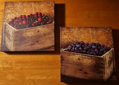 Cherries Blueberries Crate Kitchen Signs Set Rustic Country Primitive Home Decor