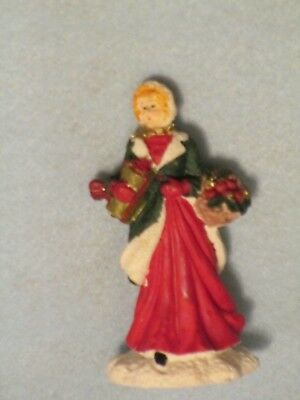 MERVYN'S 1991 Xmas VILLAGE SQUARE Woman with Basket and Package FIGURINE