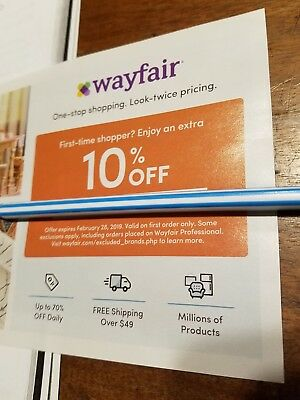 WAYFAIR 10% OFF Coupon - Expires 2/28/2019 - First Time Shoppers Only