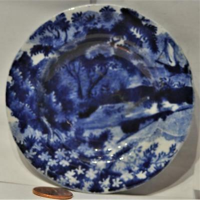 Staffordshire Dark Blue Transfer Cup Plate, Clews, c. 1820