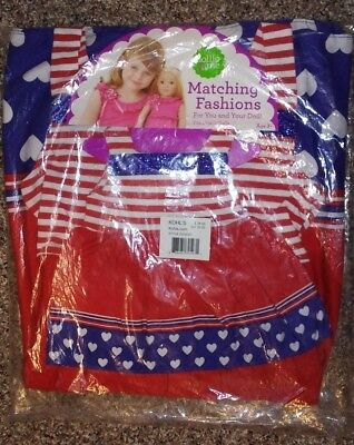 Dollie & Me Size 7 Red, White & Blue Dress with Matching Doll Dress