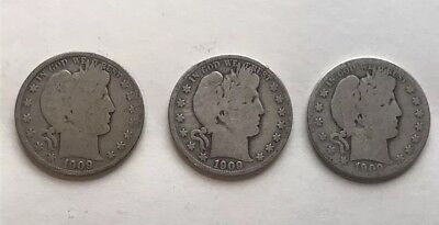 Barber Half Dollars 1909-S 90% Silver, Lot Of 3