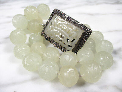 Antique Chinese Carved Mutton Fat Jade Beaded Necklace W Repousse Silver Clasp