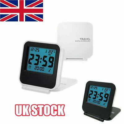 Pocket LCD Digital Travel Desk Alarm Clock Snooze Date Day Thermometer Y8