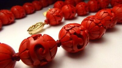 Vtg 1930's Lrg Carved Cinnabar Bead Hand Knot Red Silk Sterling Silver Necklace