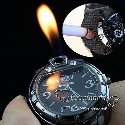 5V Adult 2in1 Wrist Watch+ USB Rechargeable Electric Windproof Cigarette Lighter