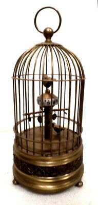 Large Animated Bird Cage Clock--Winds Up With Engraved Heavy Brass Base