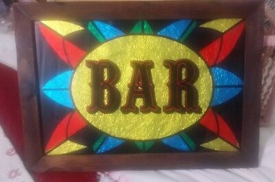 """Vintage Colorful Faux Stainglass Bar Wall Sign 20 1/2"""" X 14 1/2"""" In Wooden Frame"""