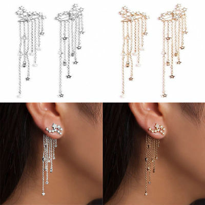 Elegant Women Star Rhinestone Long Tassel Ear Drop Dangle Earring Charm Jewelry