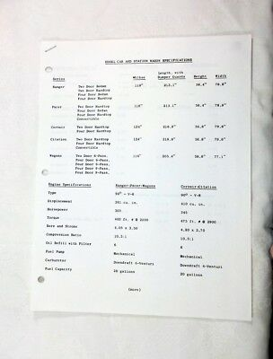 Edsel Car & Station Wagon 2 Page Specifications Sheets Ca 1957