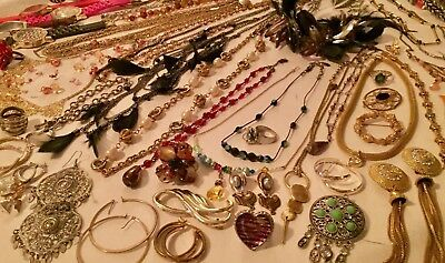 Lot of 95 Pcs Costume Jewelry Necklaces Earrings Rings etc Many Vintage NO SCRAP