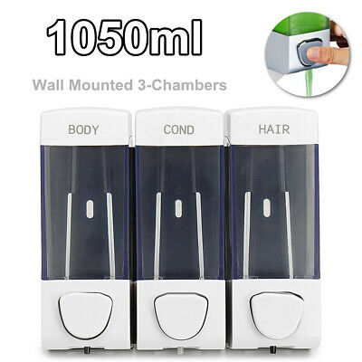 Triple Shower Lotion Soap Dispenser Wall Mounting Bathroom 3 Compartment Liquid