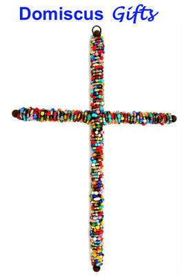 """12 1/2"""" New Large BEADED Wall CROSS Religious Christian Home Decor FREE Shipping"""