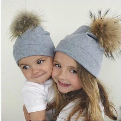 Winter Hot Women Kids Baby Mom Warm Knit Beanie Fur Pom Hat Crochet Ski Ball Cap