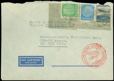 """May 15 BERLIN GERMANY Cds, 2nd Flight of Zeppelin """"Von Hindenburg"""" Cover to NYC!"""